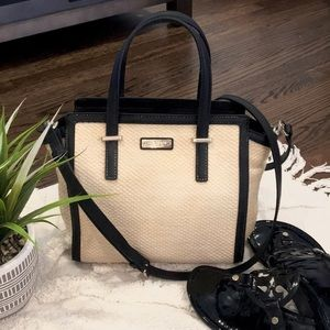 Kate Spade Straw and Leather Shoulder Bag